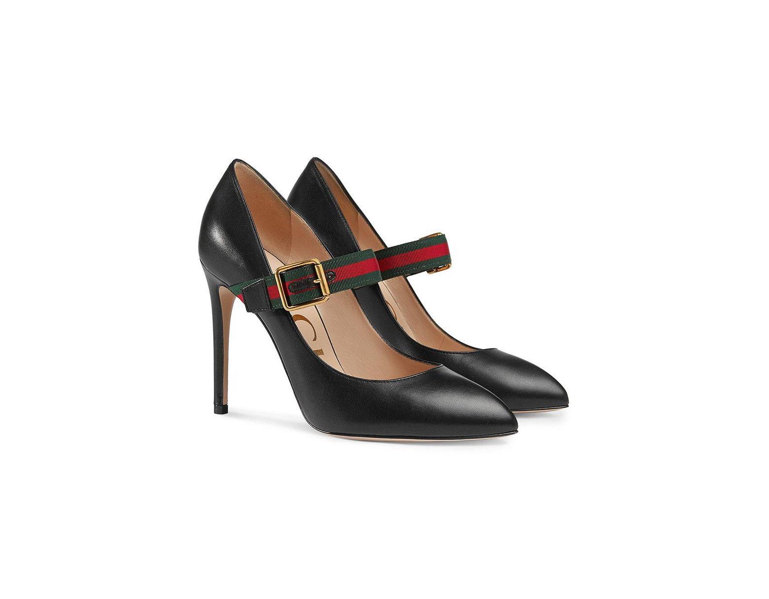 6eceb06f1 Gucci Sylvie Leather Mid-heel Pumps in Black - Lyst