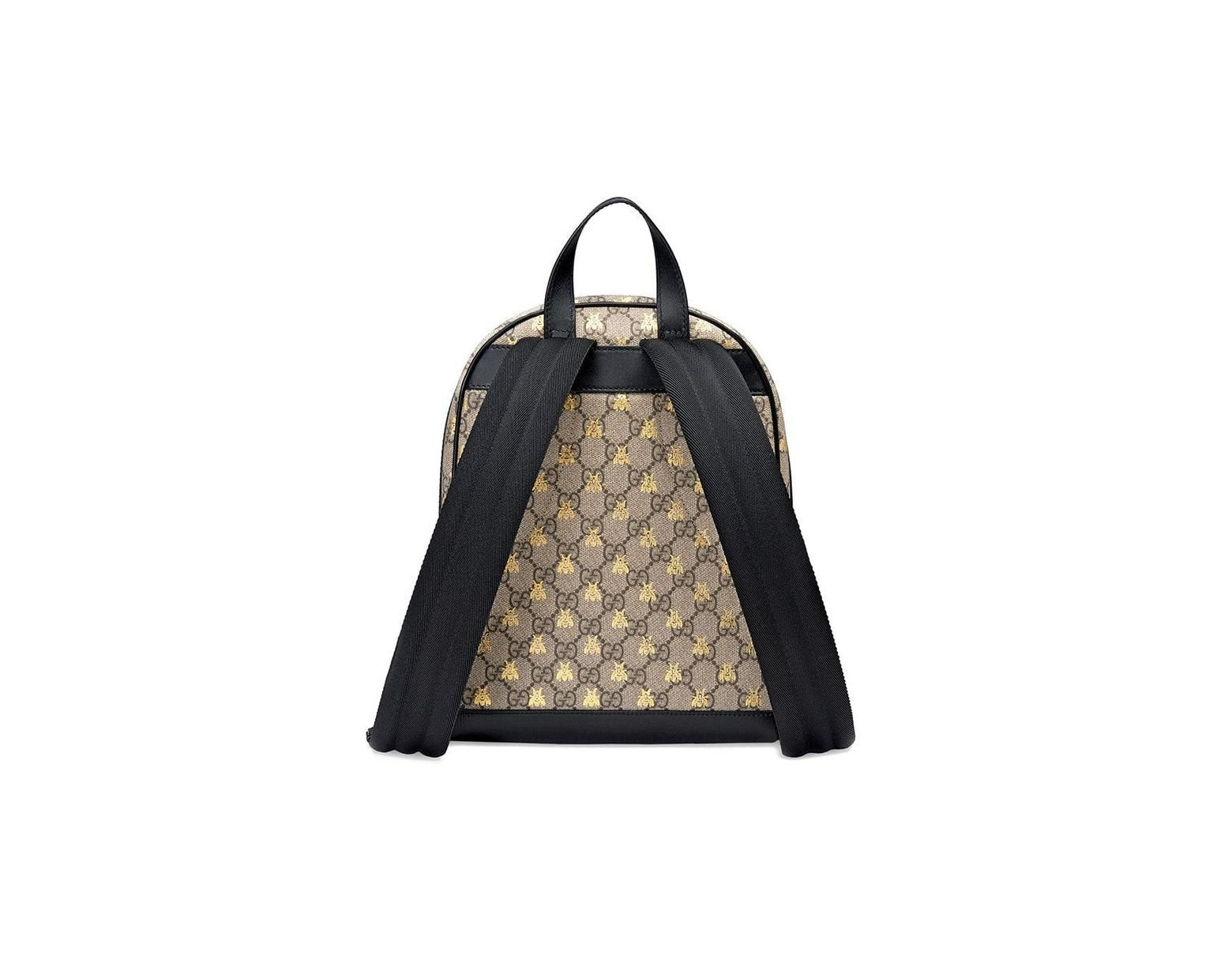 0b654bf7d67b Gucci GG Supreme Bees Backpack in Black - Lyst