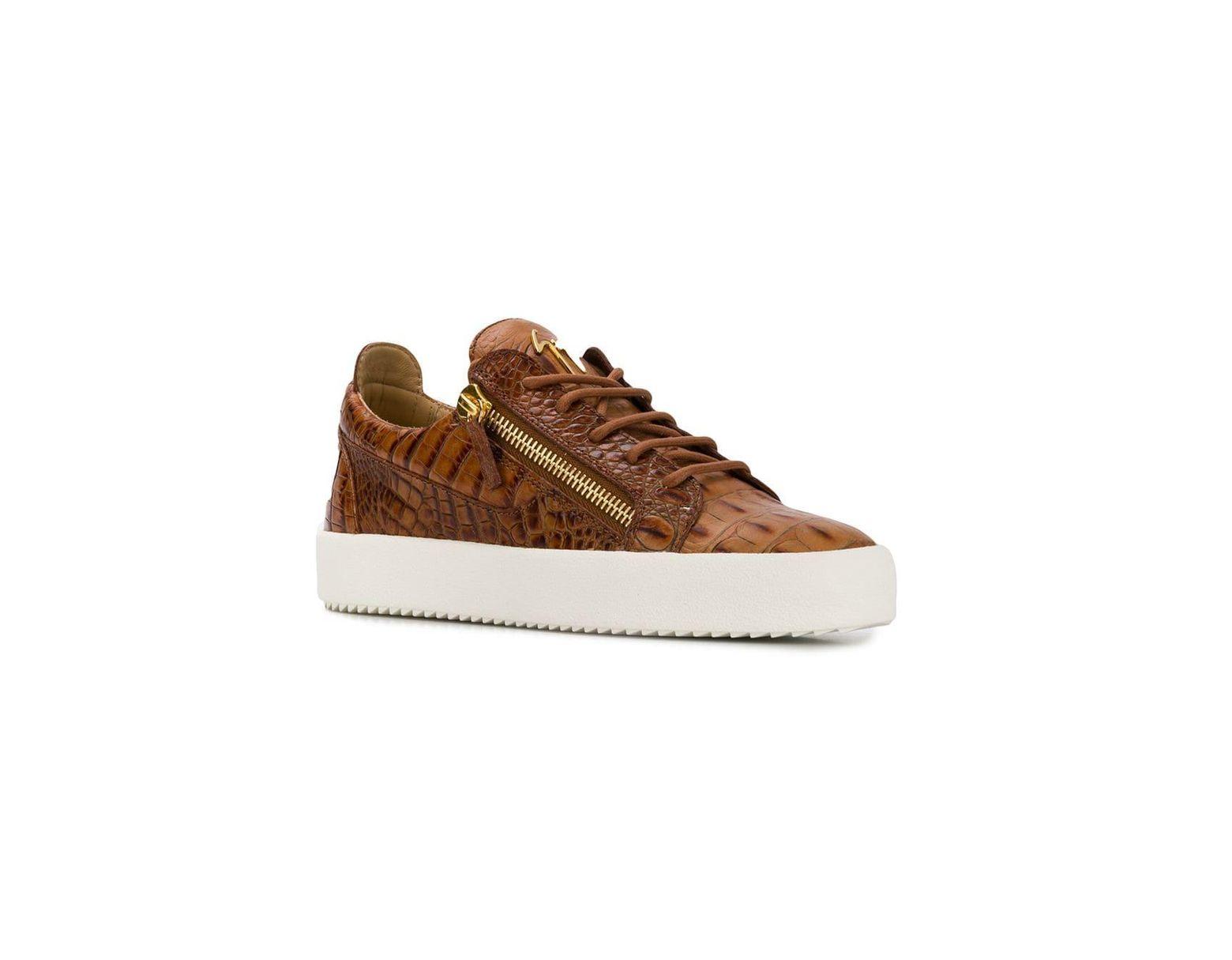 cb7d5bf5a5f6d Giuseppe Zanotti Kriss Crocodile Effect Sneakers in Brown for Men - Lyst
