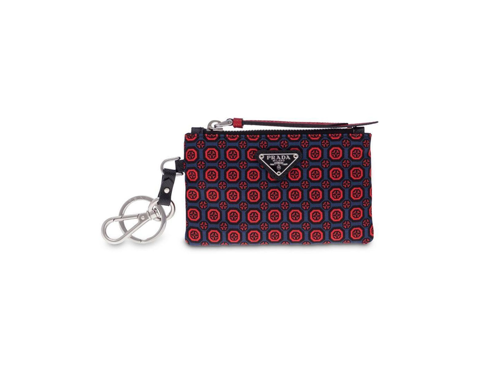 ab632a0a91b Prada Saffiano Leather And Nylon Keychain Trick in Red for Men - Lyst