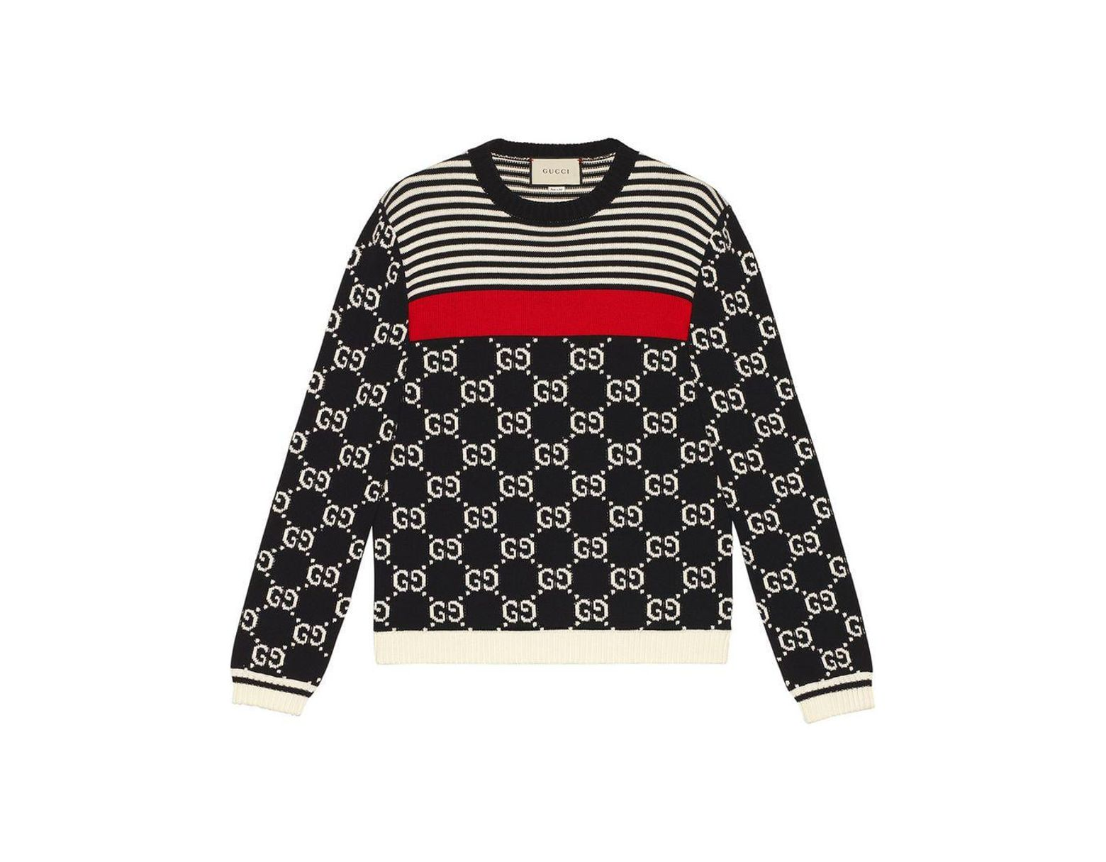 a8953458750 Gucci GG And Stripes Knit Sweater in Blue for Men - Lyst