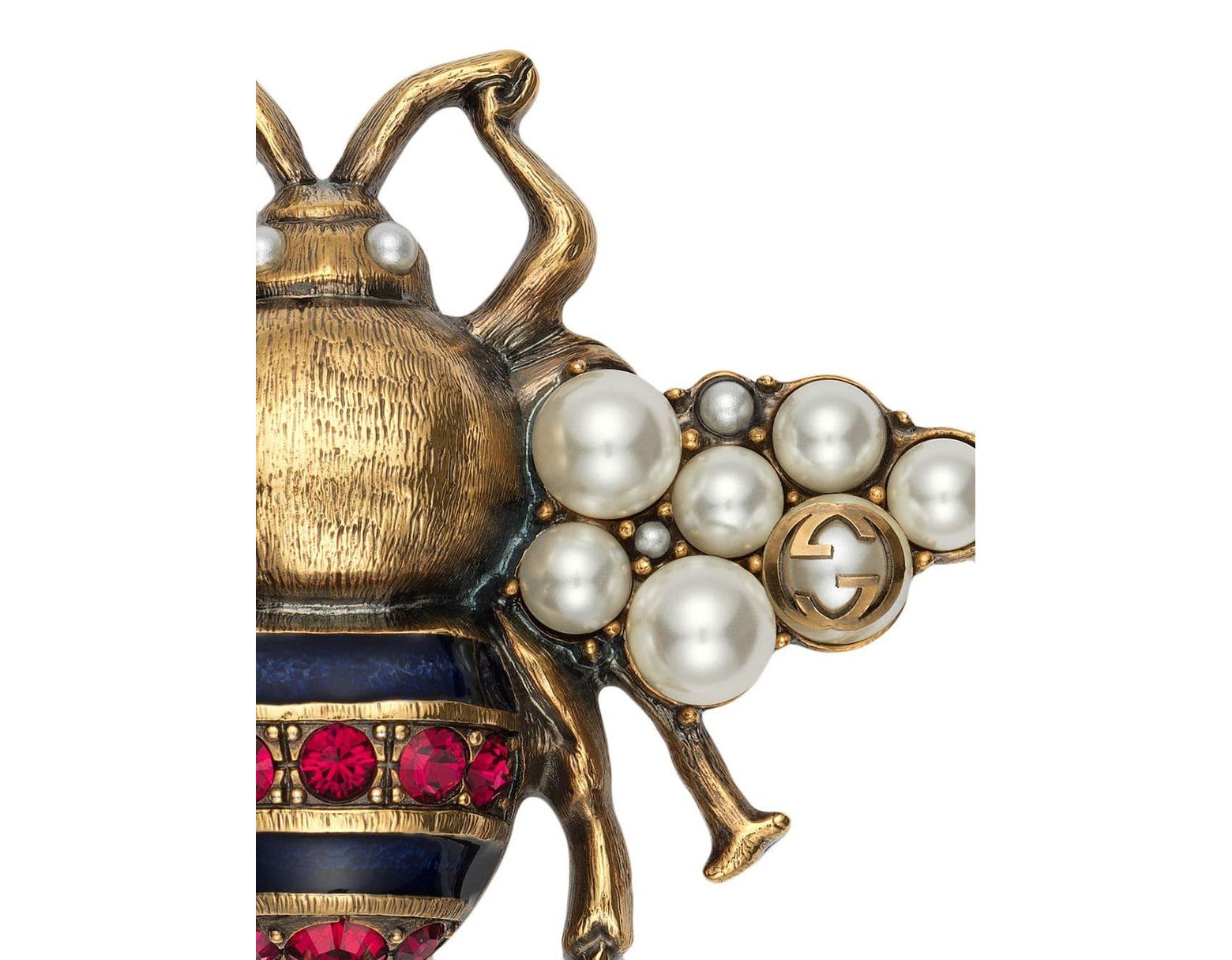 23189bf41 Gucci Bee Brooch With Crystals And Pearls in Metallic - Lyst