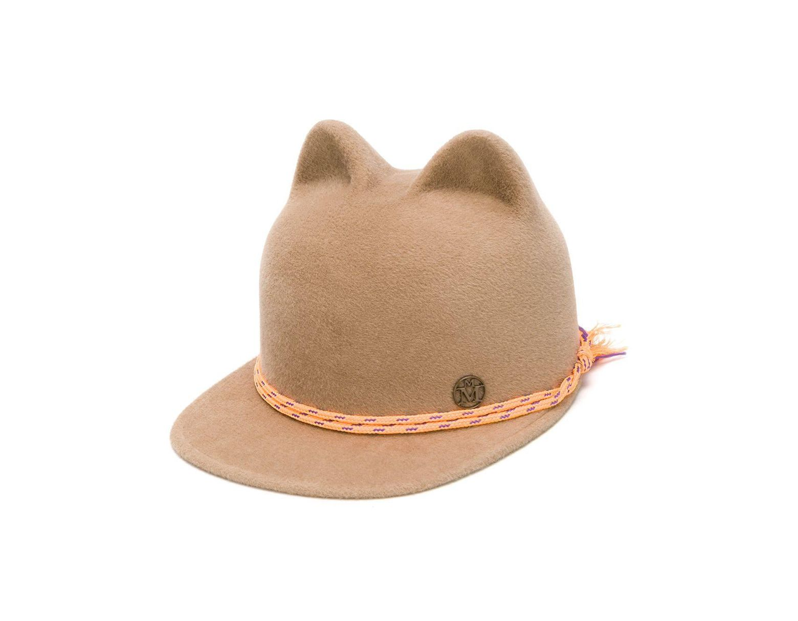 07dcac4d8 Maison Michel Animal Ear Cap in Brown - Lyst