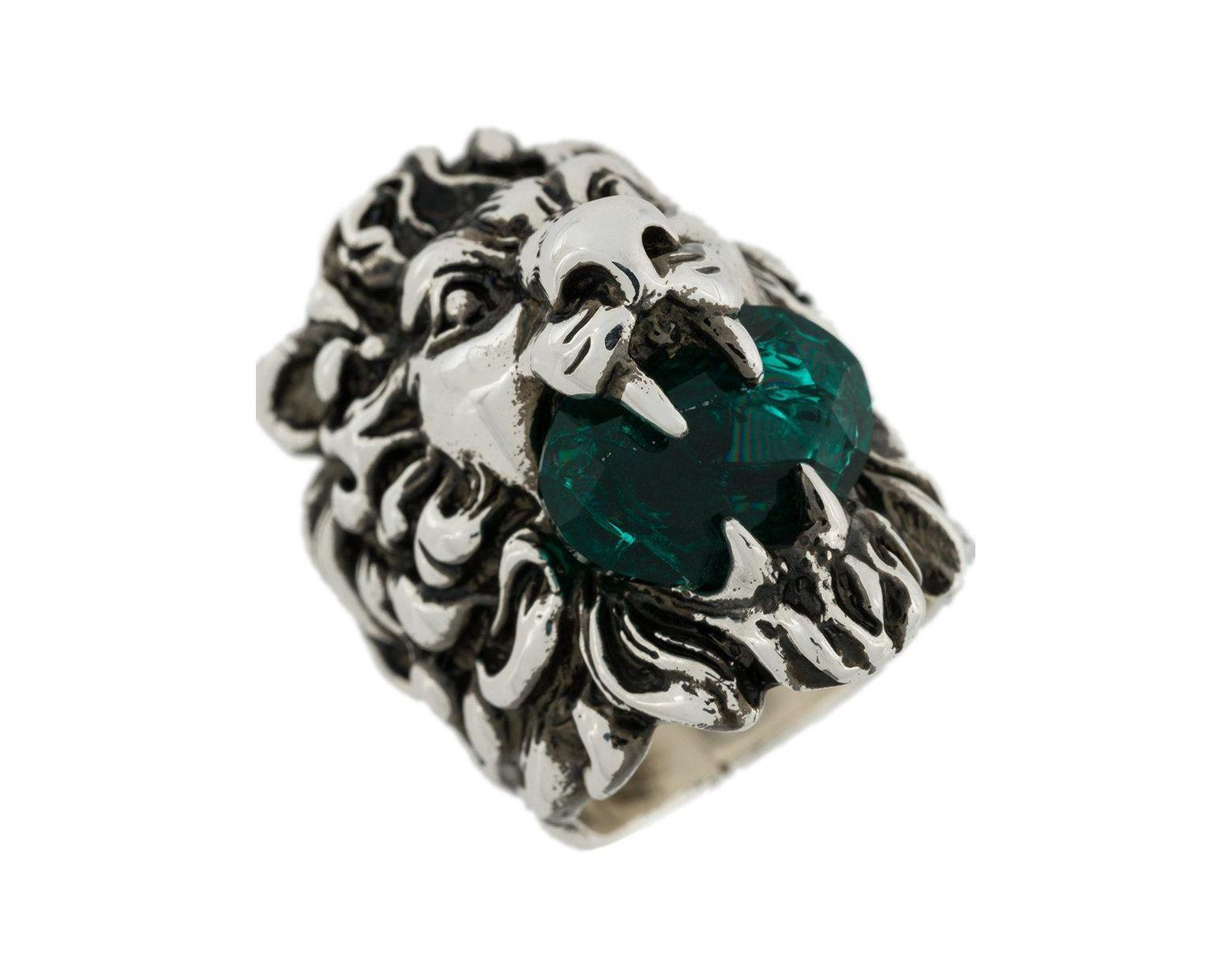e443f8f52 Gucci Swarovski Crystal Lion Ring in Metallic - Lyst