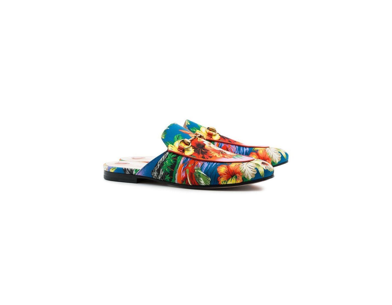 897a69344f9 Lyst - Gucci Multicoloured Princetown Hawaiian Leather Loafers in Blue