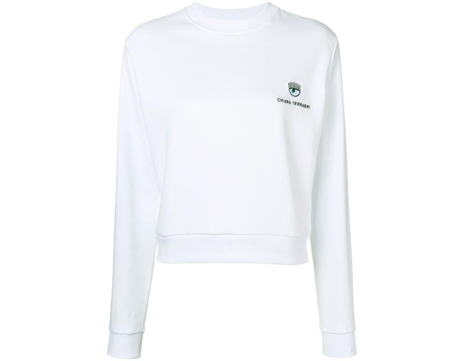 ba476643c Chiara Ferragni Logo Jersey Sweater in White - Lyst
