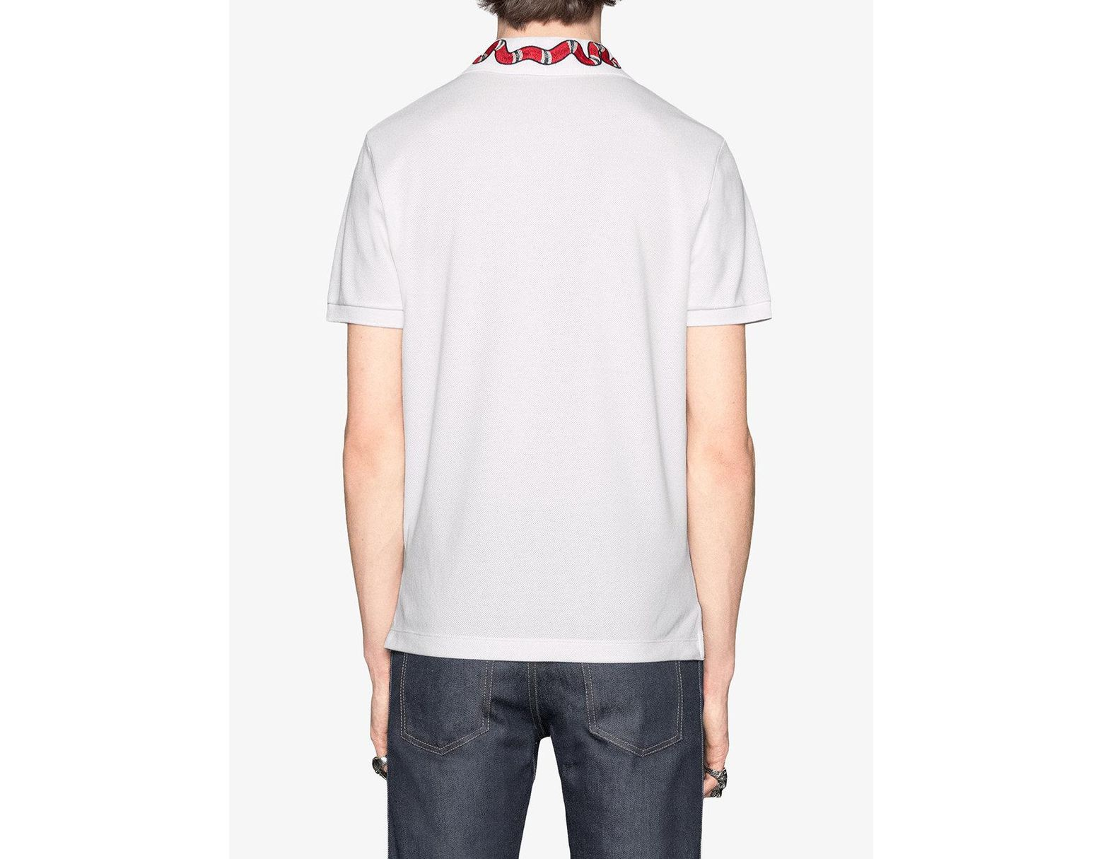 d2696598694 Lyst - Gucci Kingsnake Embroidered Polo Shirt in White for Men