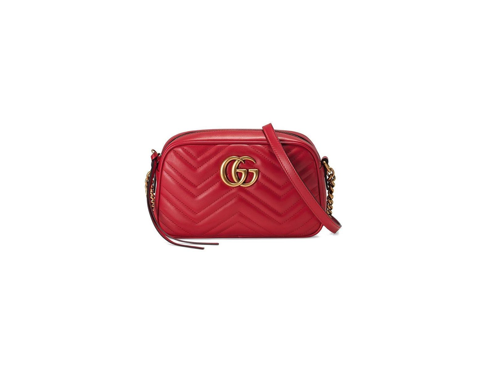20a7b889b Gucci GG Marmont Small Matelassé Shoulder Bag in Red - Lyst