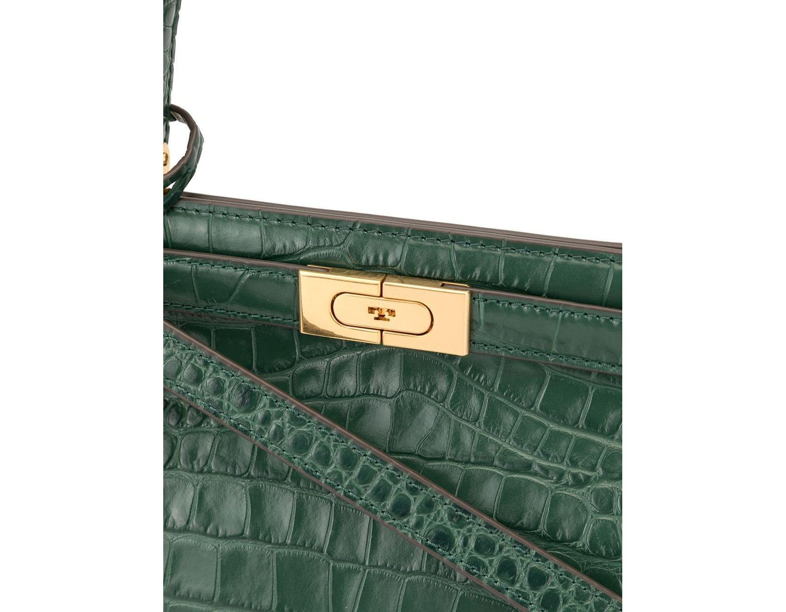 810cf95973 Tory Burch Croc Embossed Handbag in Green - Save 24% - Lyst