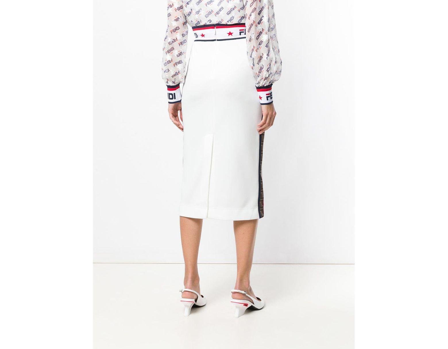 df5cfe77a Fendi X Fila Pencil Skirt in White - Save 40% - Lyst