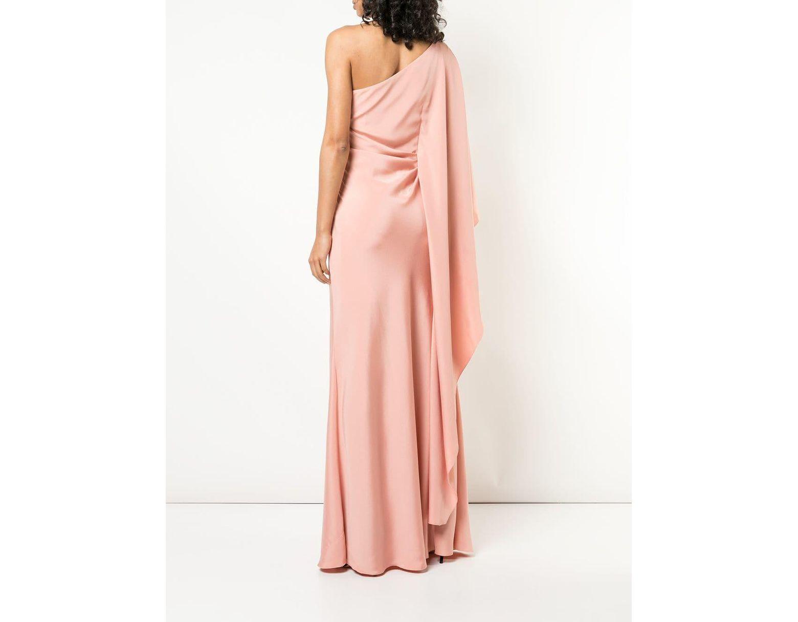 4981a2e1583 Alberta Ferretti One-shoulder Gown in Pink - Lyst
