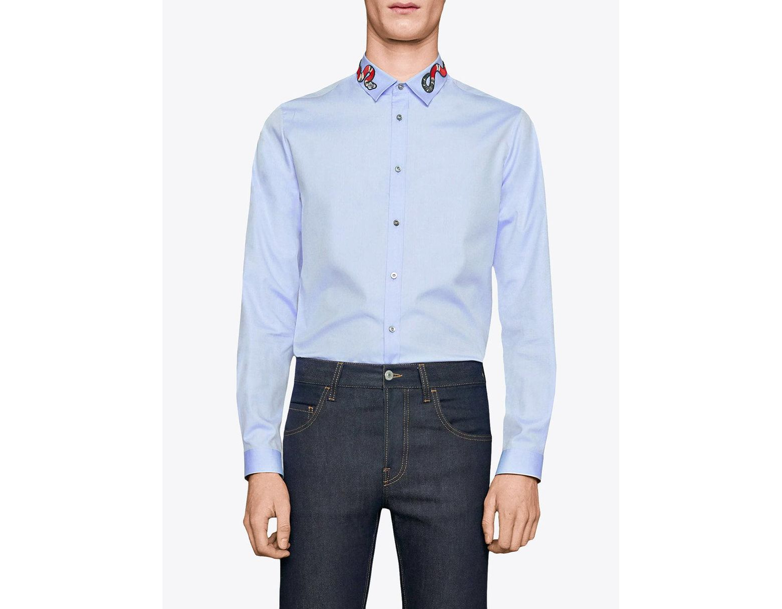 8ea9a6e44 Gucci Oxford Duke Shirt With Snake in Blue for Men - Save 2% - Lyst