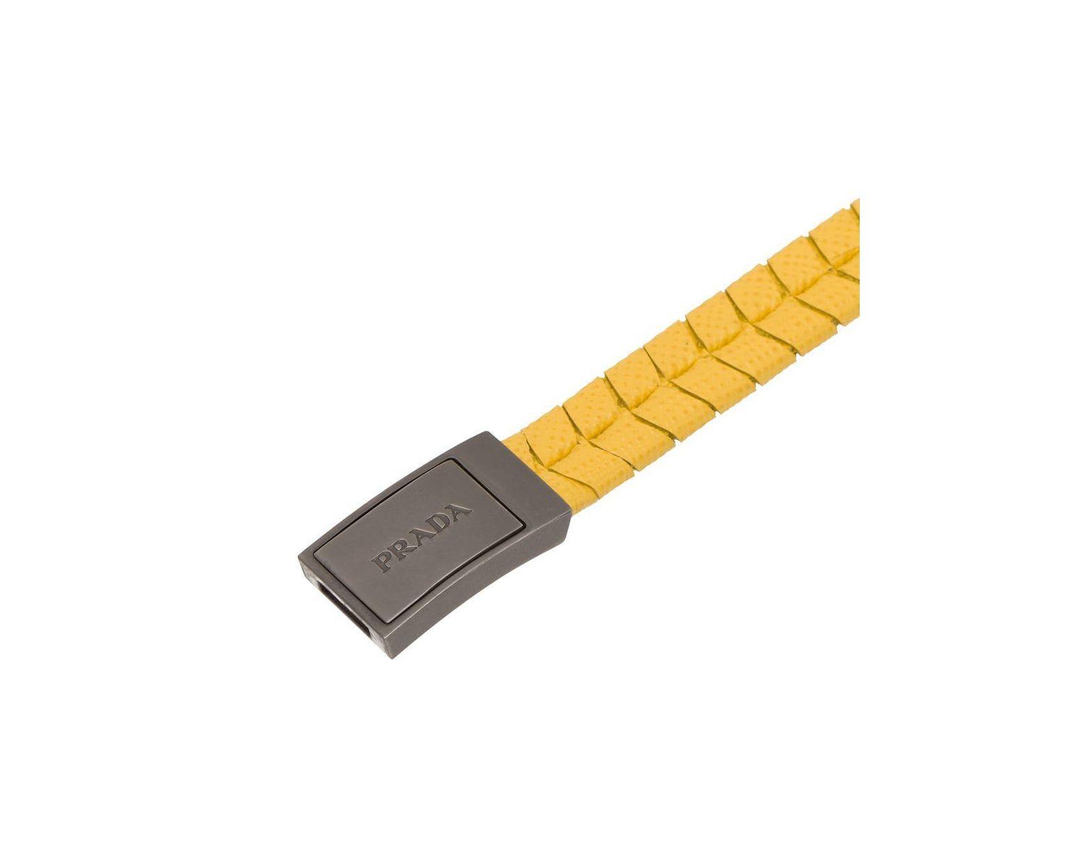 5b9ee25b0d298 Prada Armband aus Saffiano-Leder in Gelb für Herren - Lyst