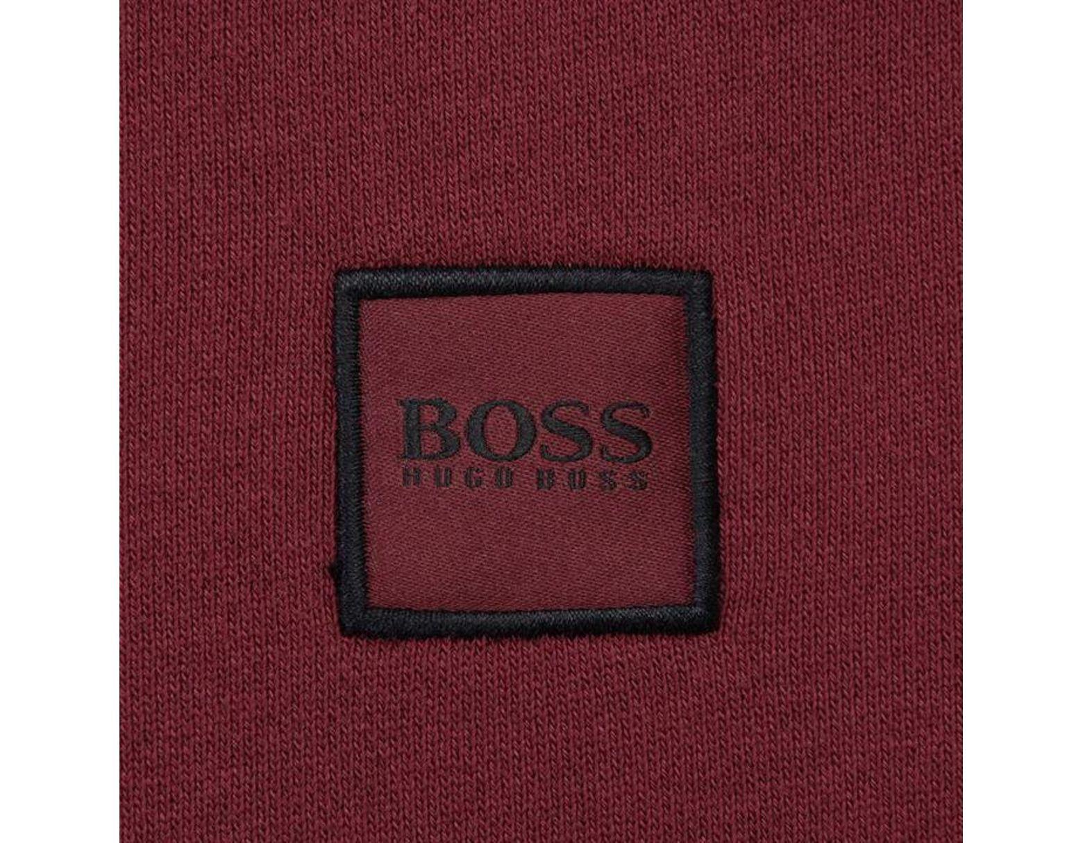 946cb9b5 BOSS by Hugo Boss Wyan French Terry Logo Patch Sweatshirt in Red for Men -  Lyst