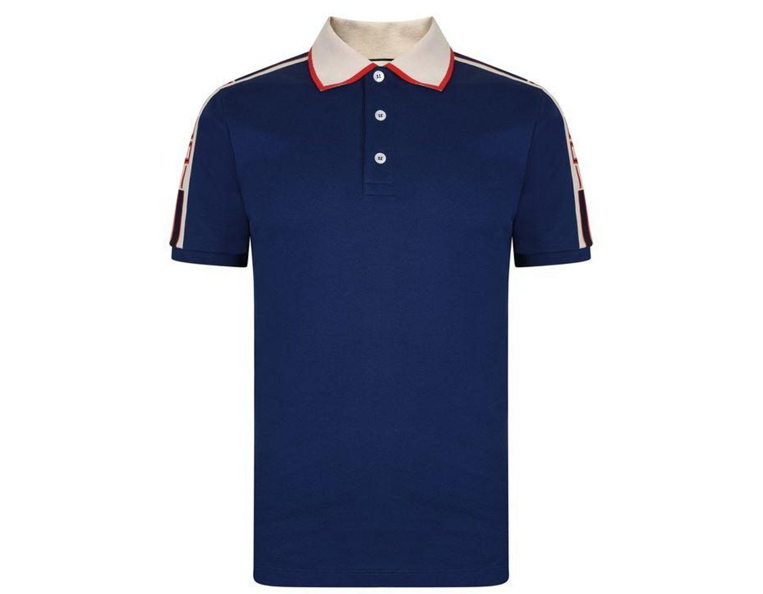 63abeb57c Gucci Ribbon Polo Shirt in Blue for Men - Lyst