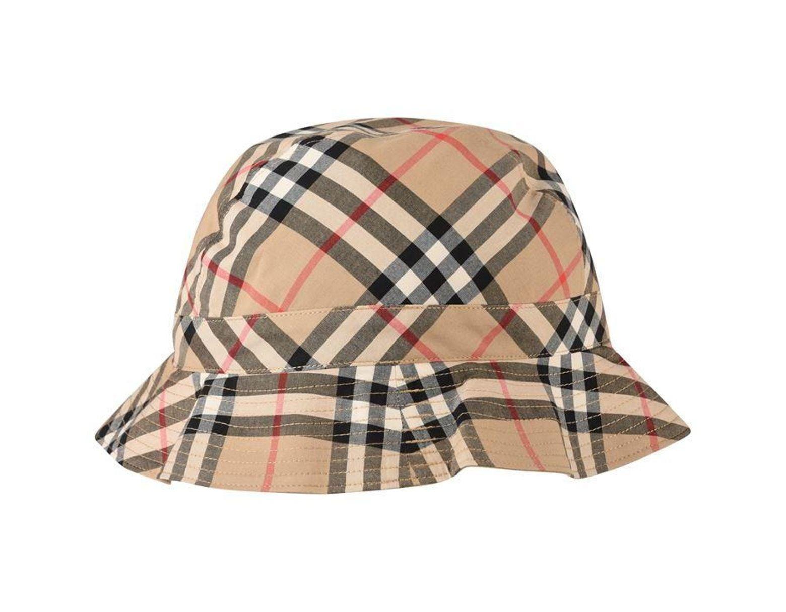 427758ccb Burberry Unisex Juniors Vintage Check Bucket Hat for Men - Lyst