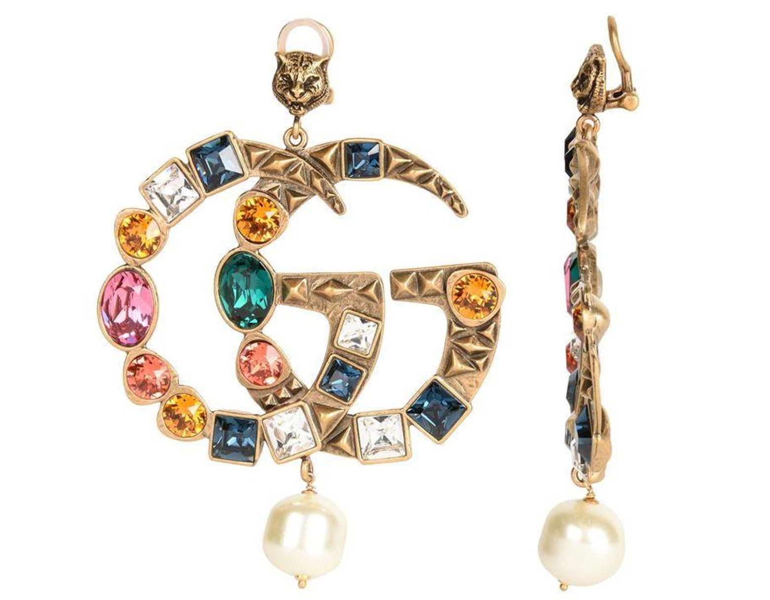 f30f928fb Gucci Crystal Gg Earrings in Metallic - Lyst