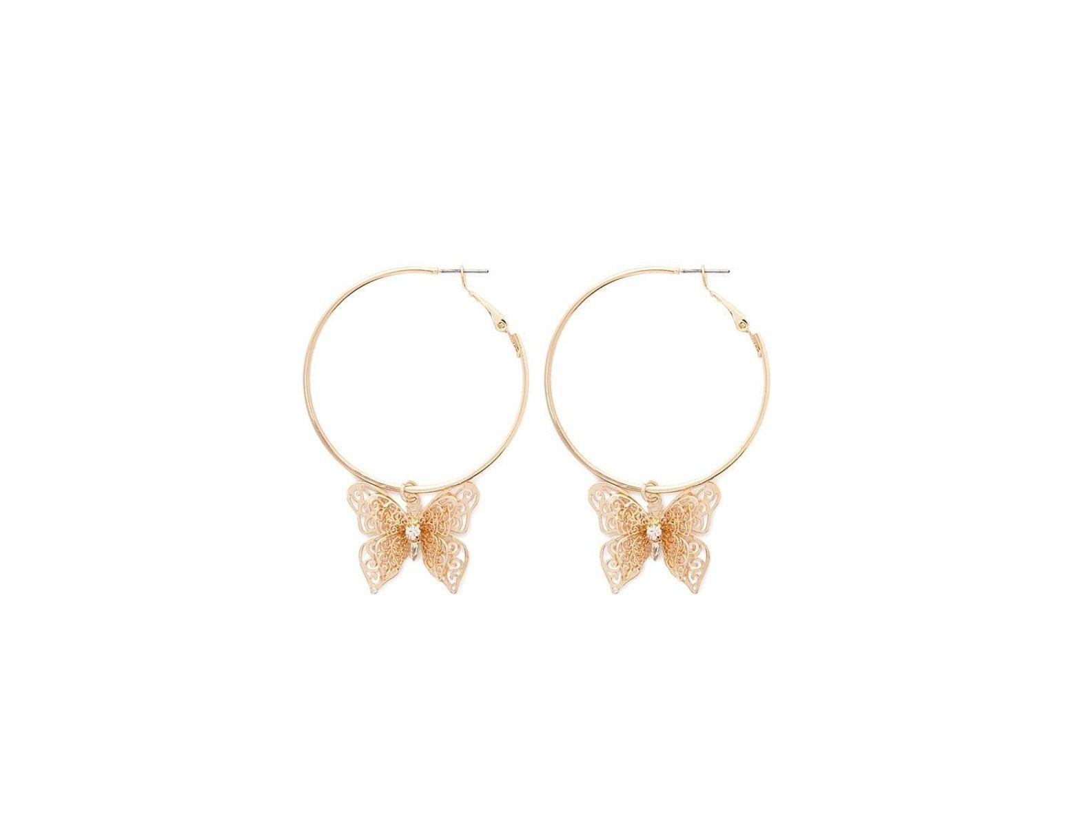 0378145cb90e6 Forever 21 Butterfly Hoop Earrings in Metallic - Lyst