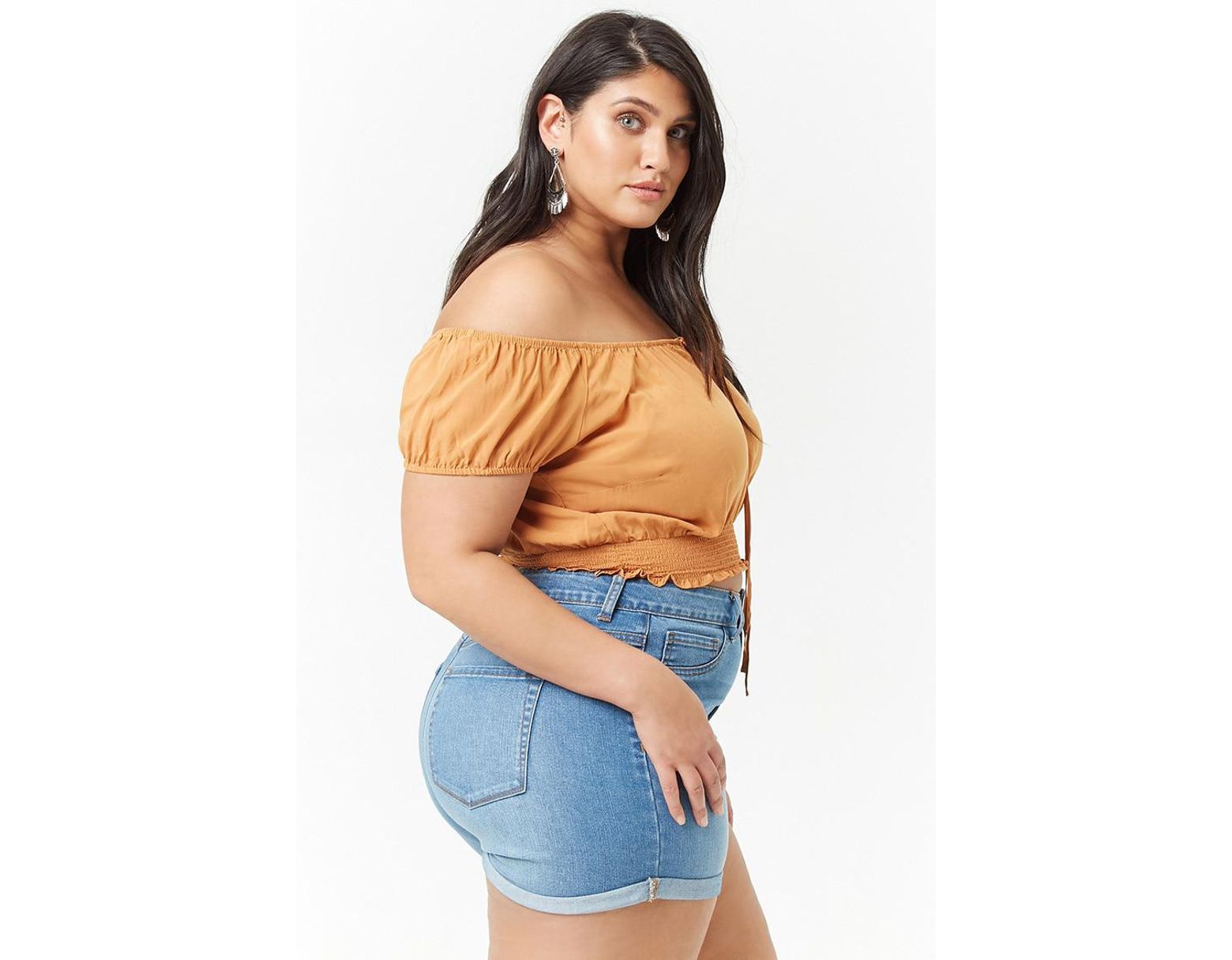 9a4a2dfdfb8 Forever 21 Women's Plus Size Smocked Off-the-shoulder Crop Top - Lyst