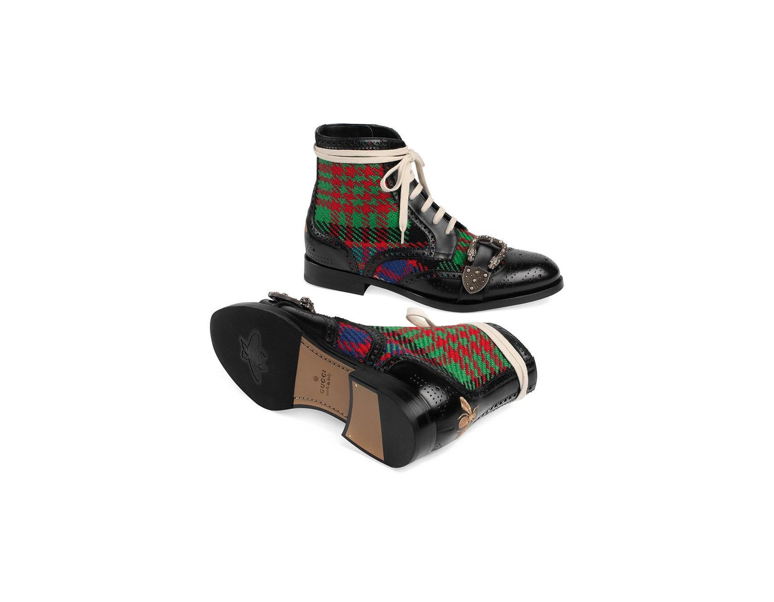 d0c1b224a80 Lyst - Gucci Tartan Queercore Brogue Boot in Black for Men - Save 22%