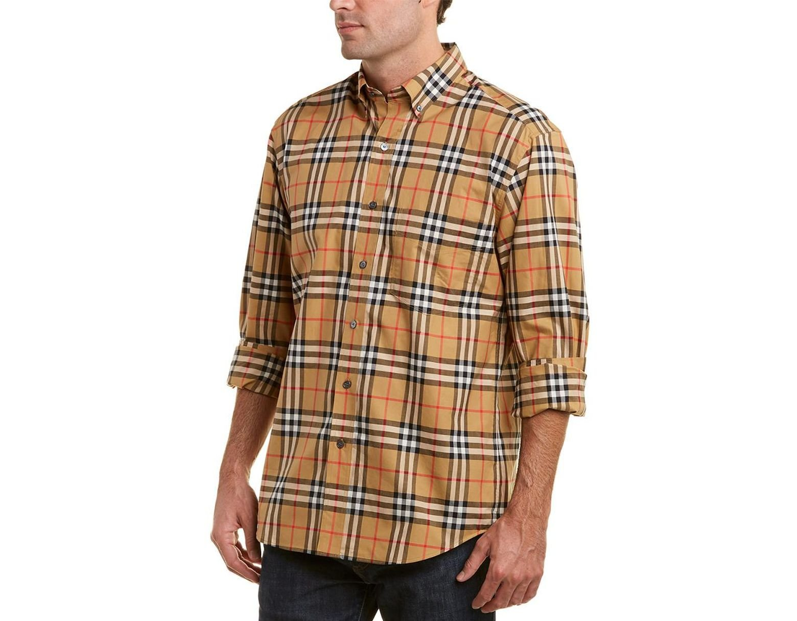 952e9ef0c Burberry Jameson Check Woven Shirt in Brown for Men - Lyst