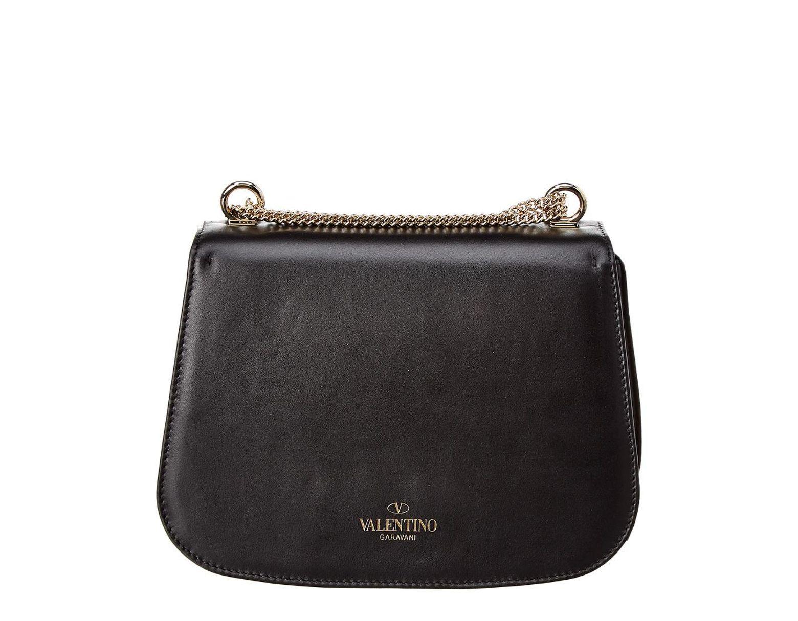 478b97330 Valentino Vltn Shoulder Strap Leather Saddle Bag in Black - Lyst