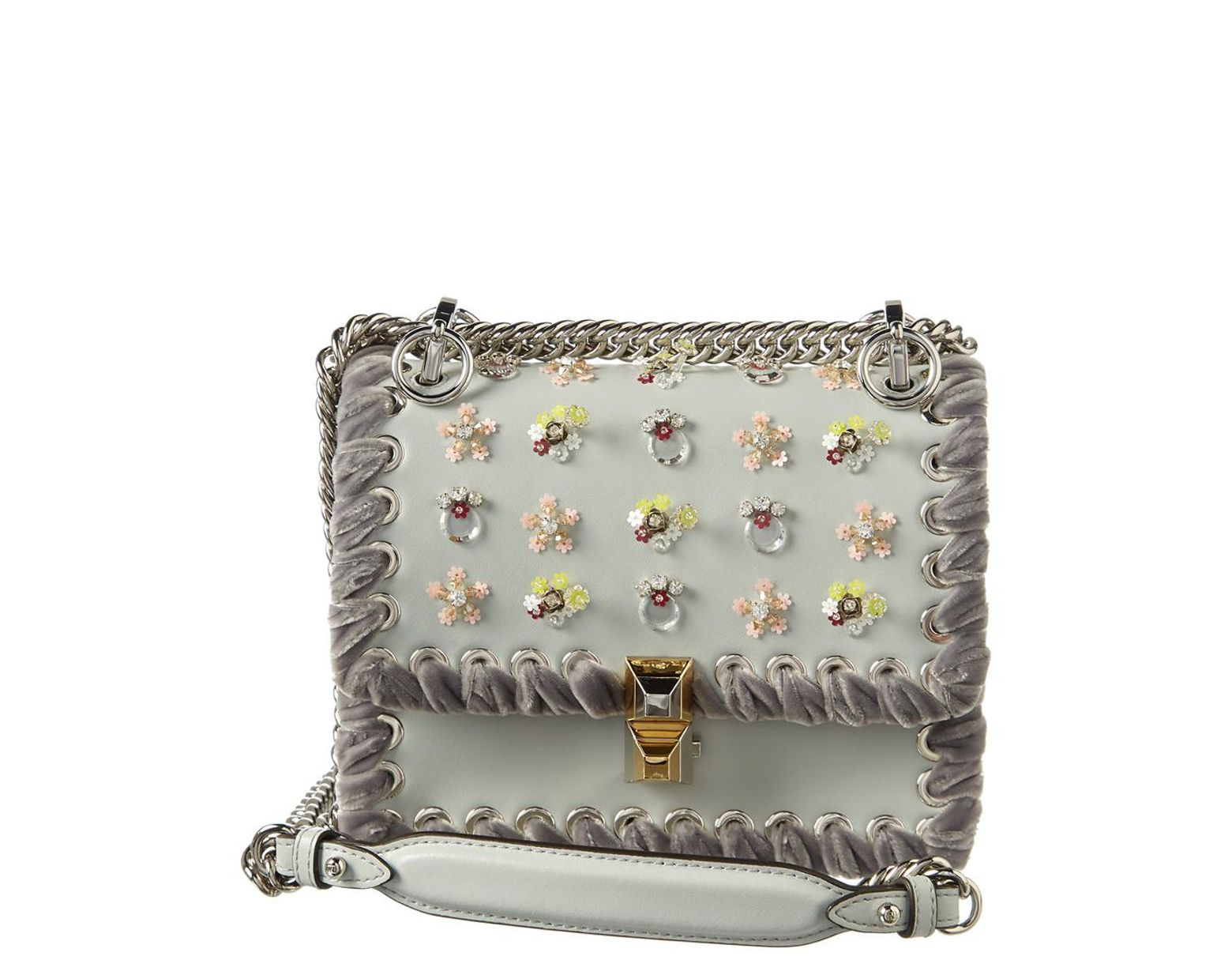 335c6d5ee Fendi Kan I Embellished Whipstitch Small Leather Satchel in Gray - Lyst