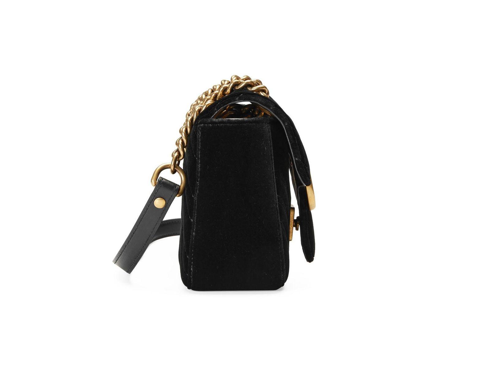 11b5151e040 Lyst - Gucci GG Marmont Velvet Mini Shoulder Bag in Black
