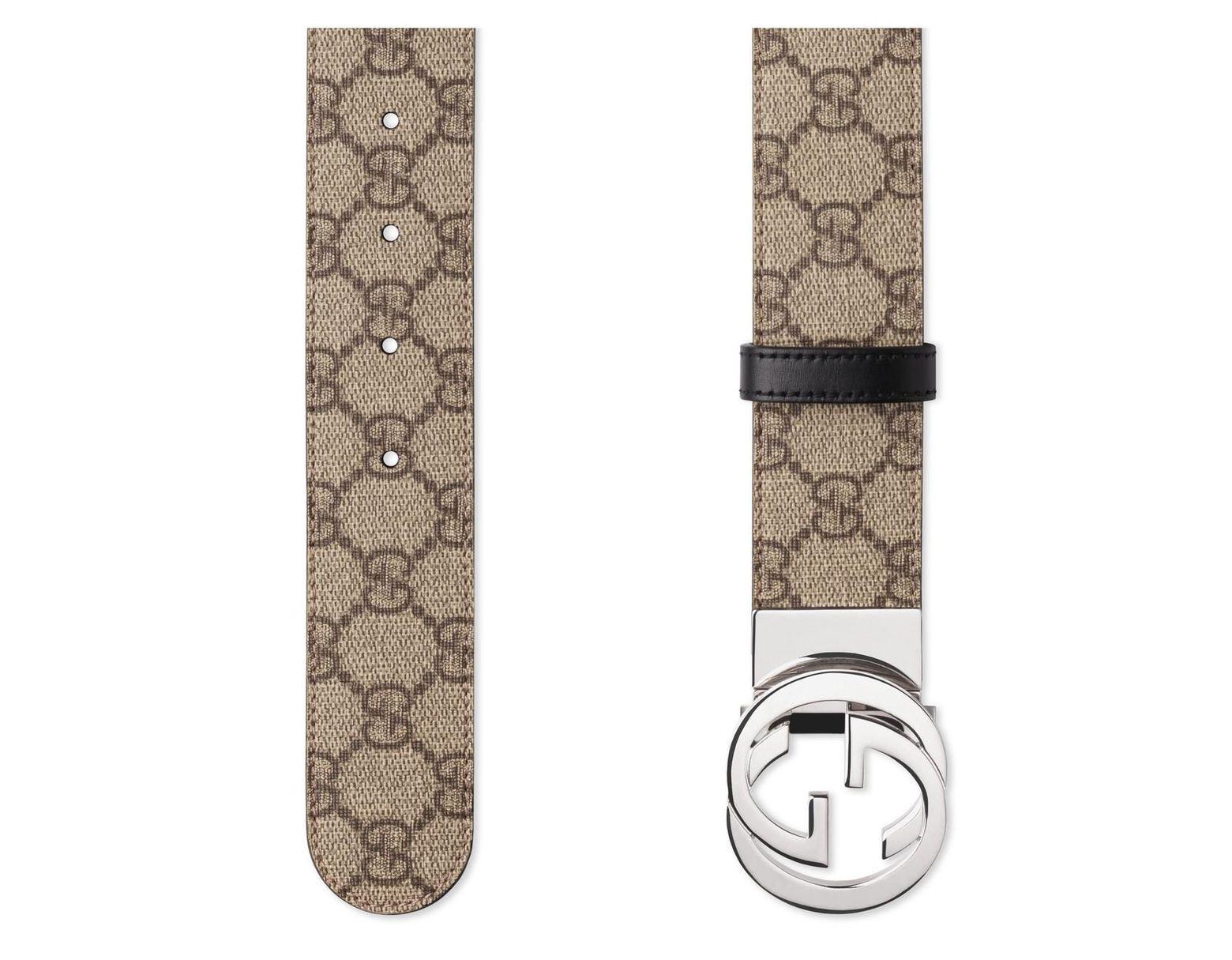 3b61e6ba007 Lyst - Gucci Reversible GG Supreme Belt in Black for Men