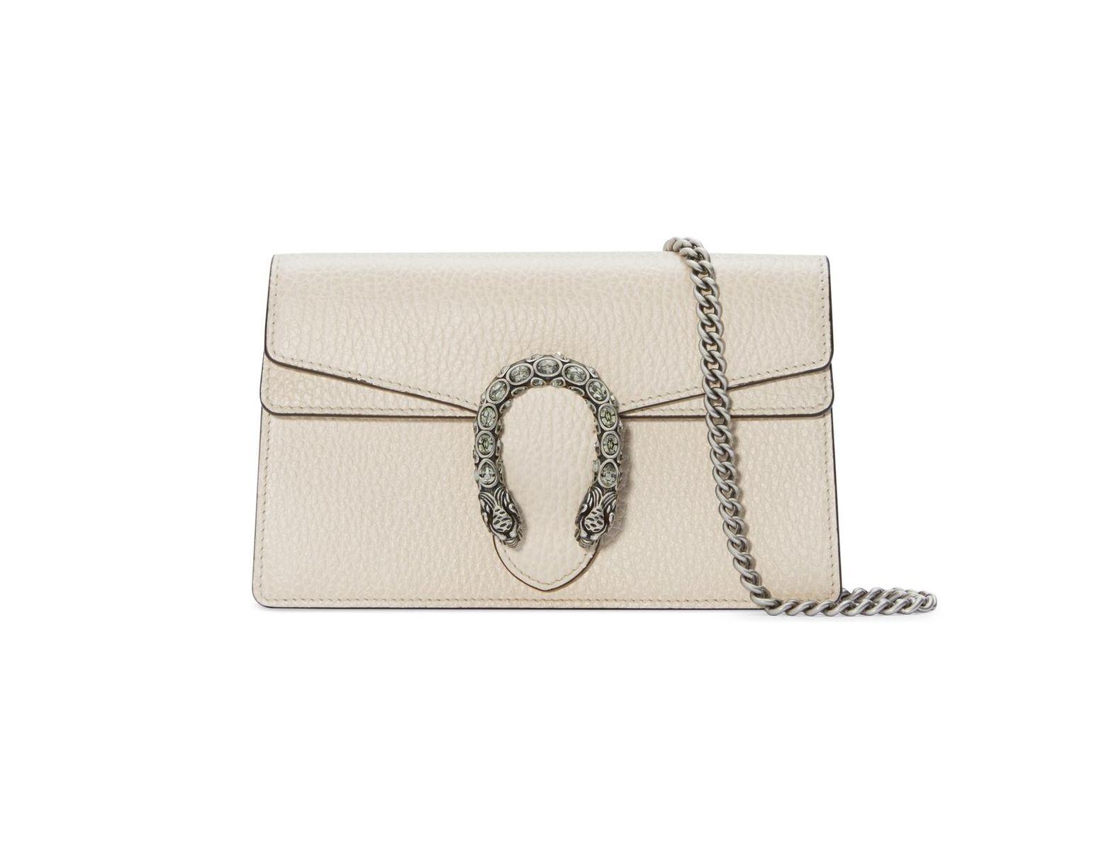 1247e31293c7 Gucci Dionysus Super Mini Leather Bag in White - Lyst