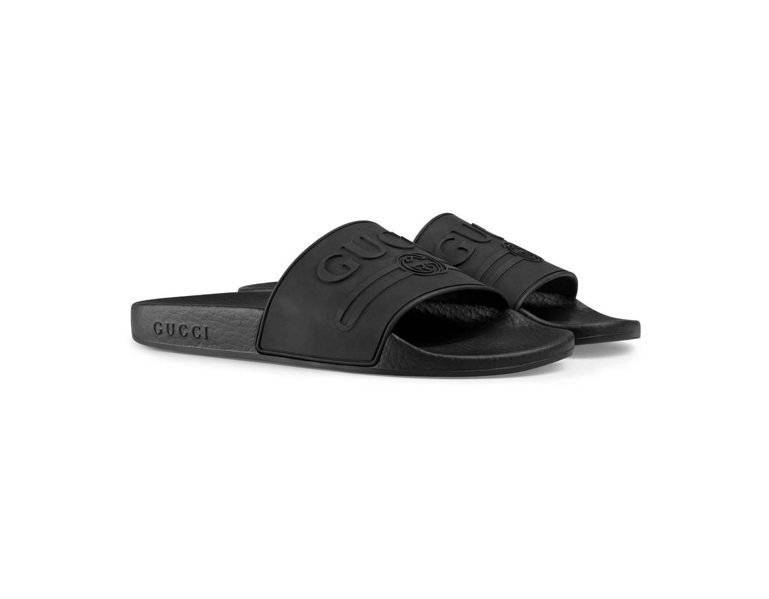 735cad7a71e Lyst - Gucci Pursuit Logo Slide Sandal in Black - Save 22%