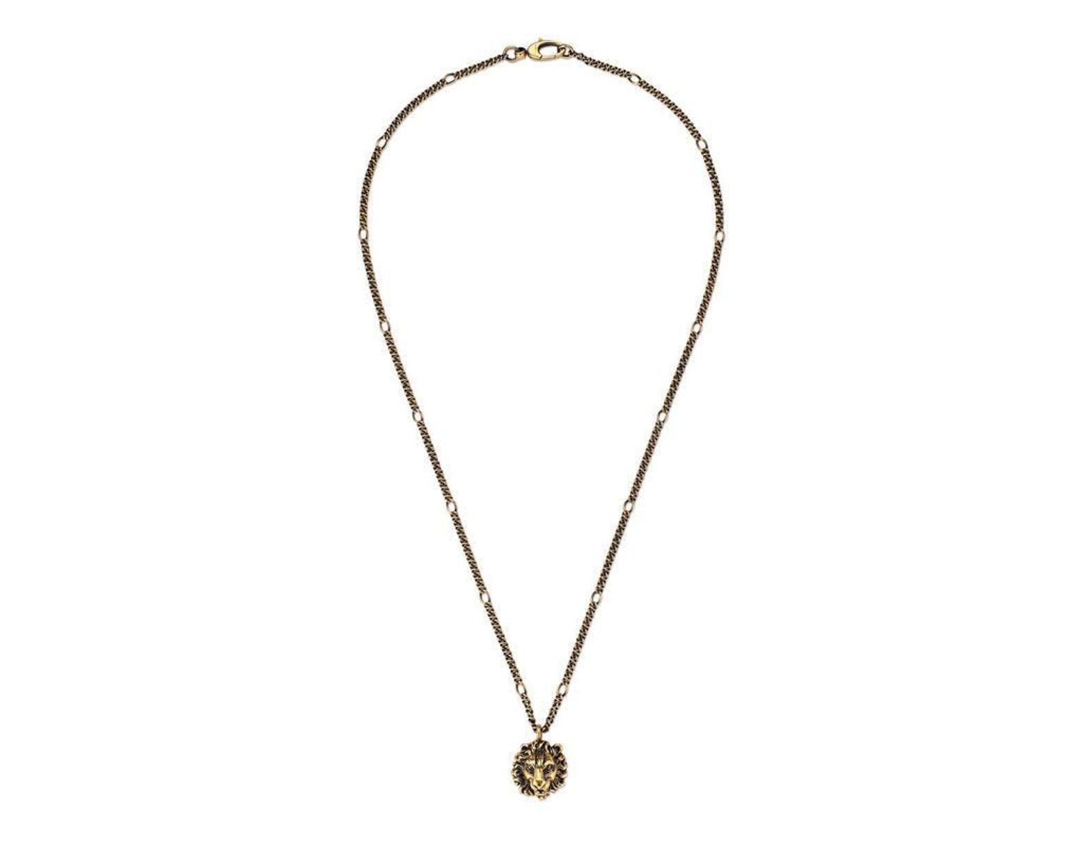 3ce6f6962 Gucci Necklace With Lion Head Pendant in Metallic - Save 5% - Lyst