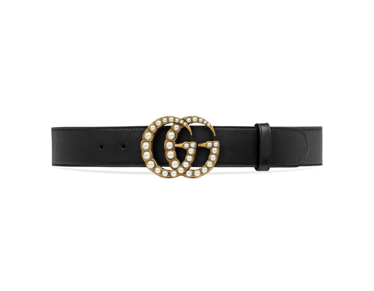 91e889674cd Lyst - Gucci Leather Belt With Pearl Double G in Black - Save 7%