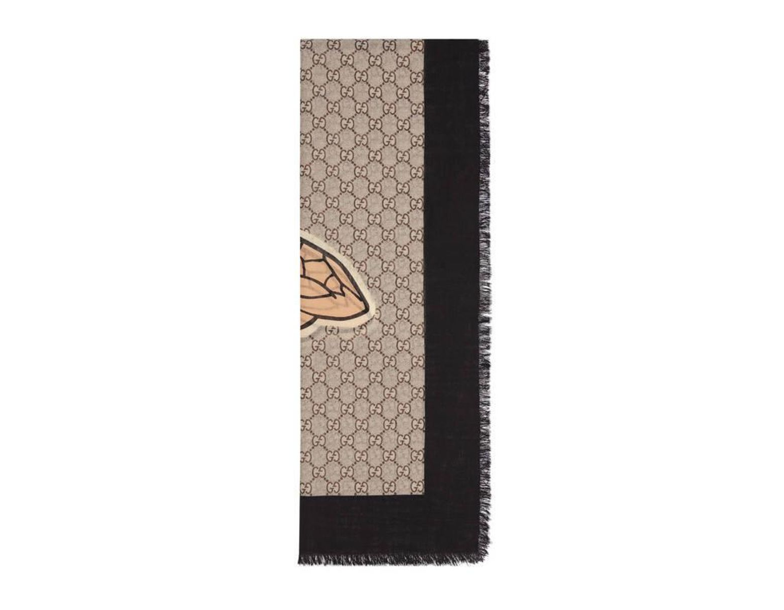 76a84e127 Gucci - Bee Web Print Wool Stole in Black for Men - Lyst