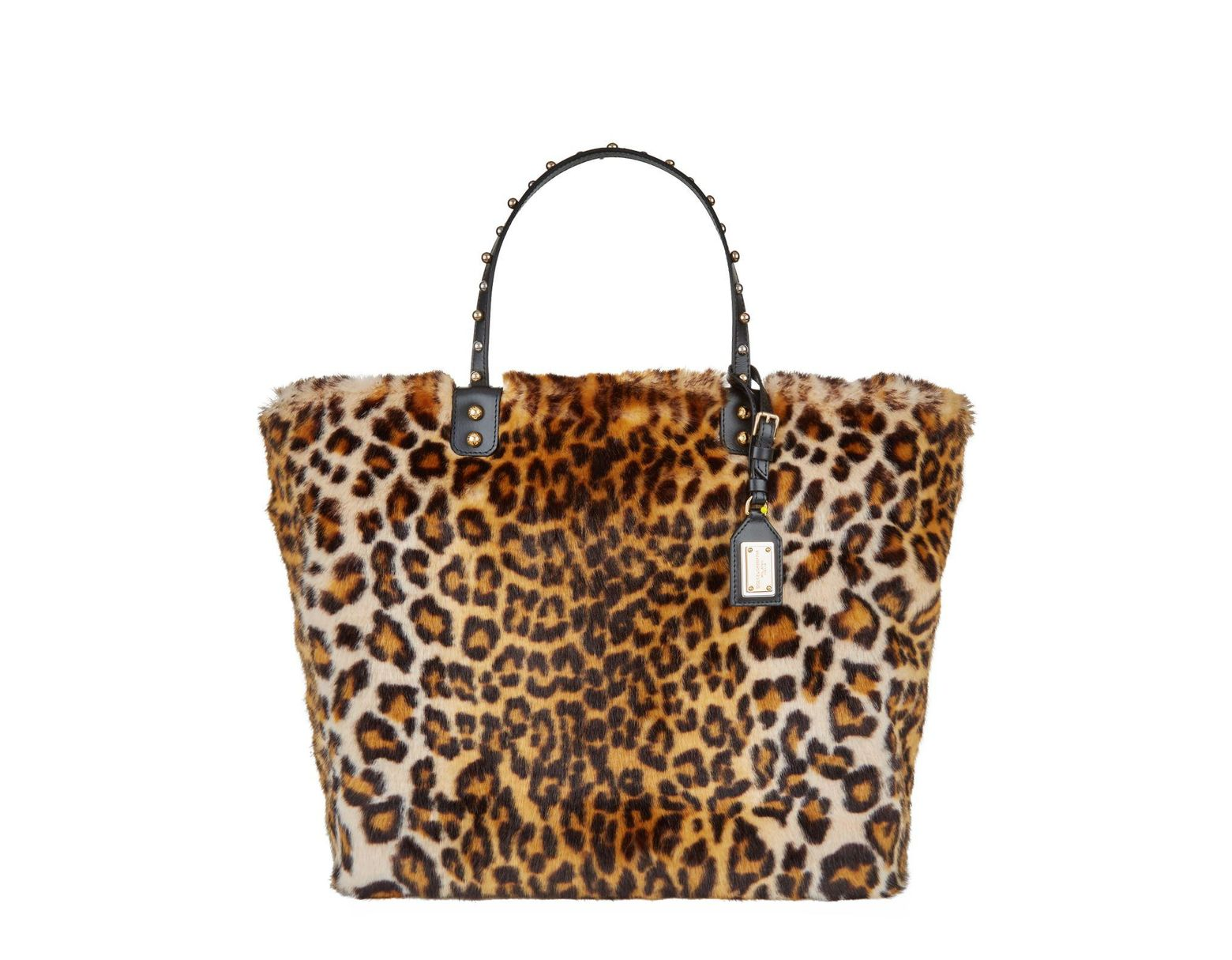 925c4b188 Dolce & Gabbana Beatrice Shopping Bag In Leopard Faux Fur in Brown - Save  55% - Lyst