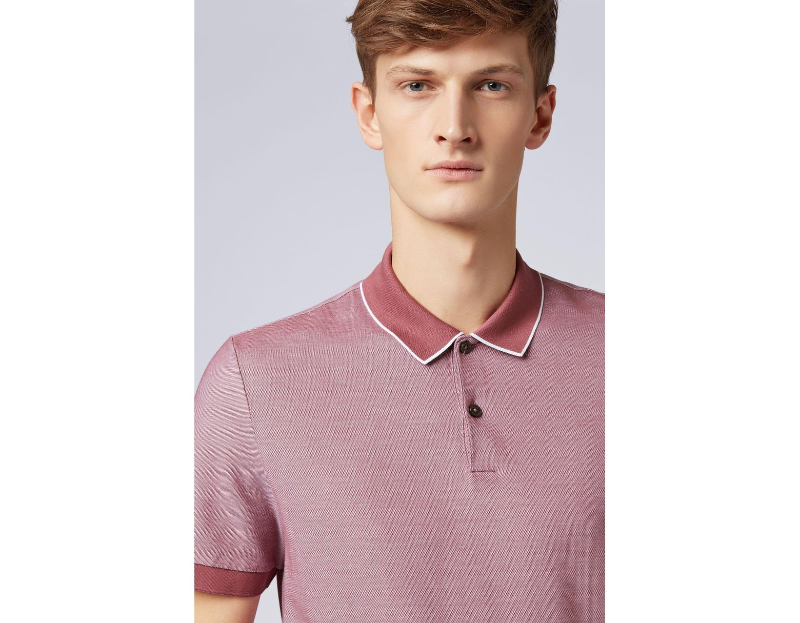 1c05f3f33 BOSS Regular-fit Polo Shirt In Two-tone Honeycomb Cotton in Purple for Men  - Save 30% - Lyst