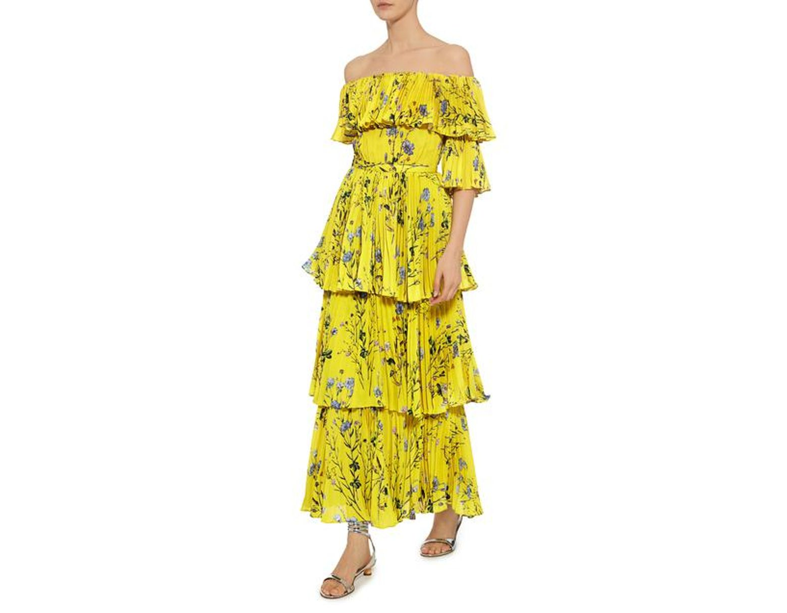 8ea8187e4304 Self-Portrait Off-the-shoulder Floral Tier Pleated Maxi Dress in Yellow -  Save 44% - Lyst