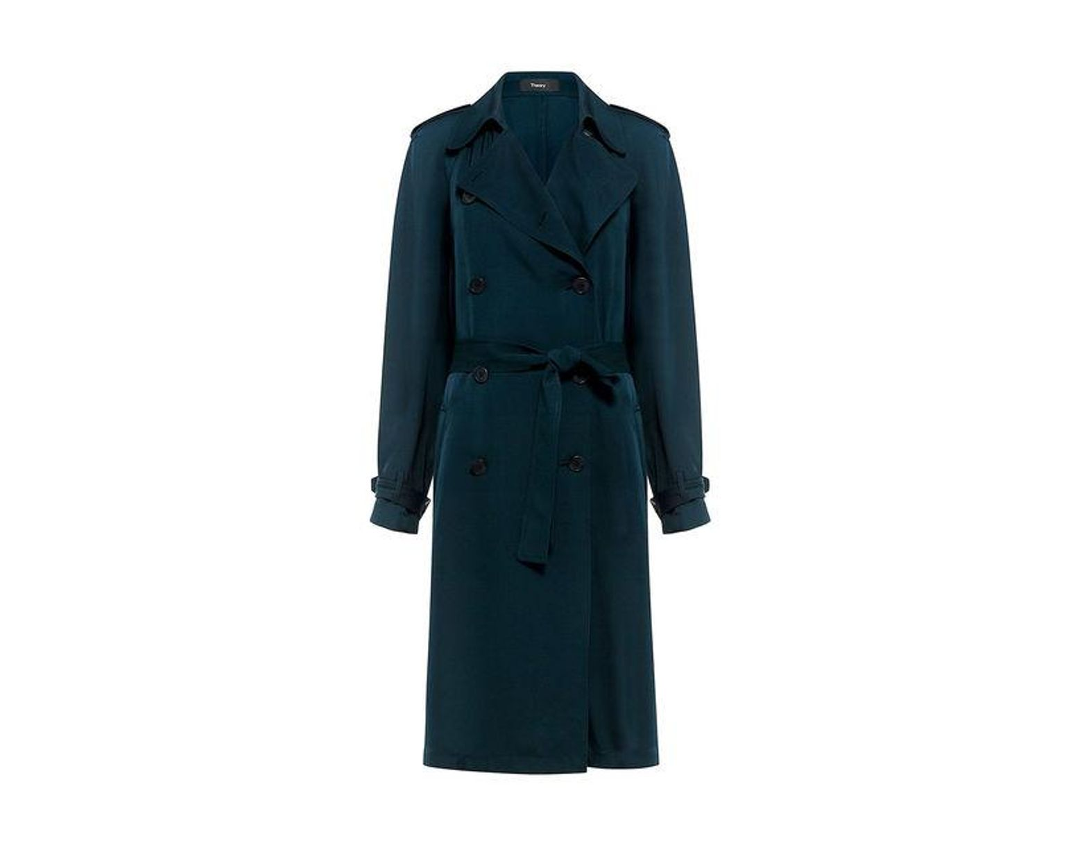 3dc3c7b1191 Theory Laurelwood Silk Trench Coat in Blue - Save 30% - Lyst