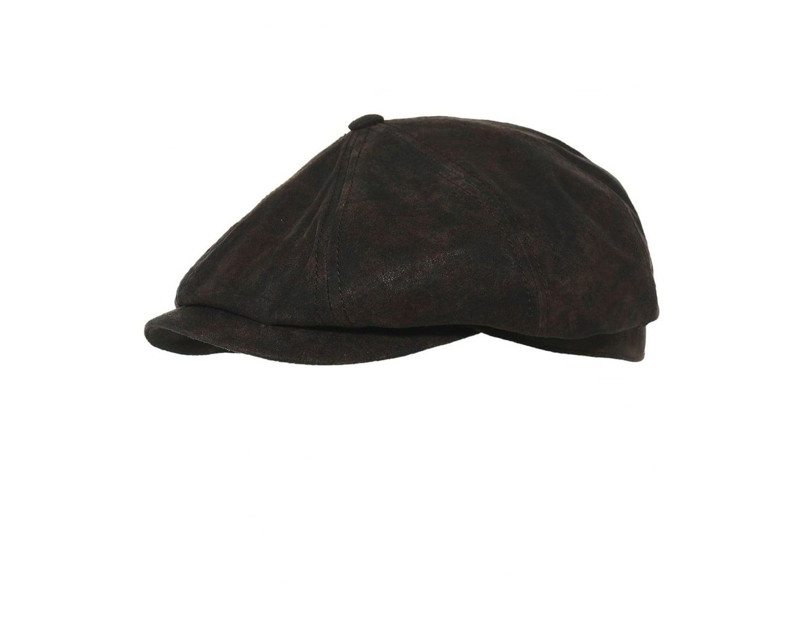3e99ec13e3dd16 Stetson Leather Hatteras Newsboy Cap in Brown for Men - Lyst