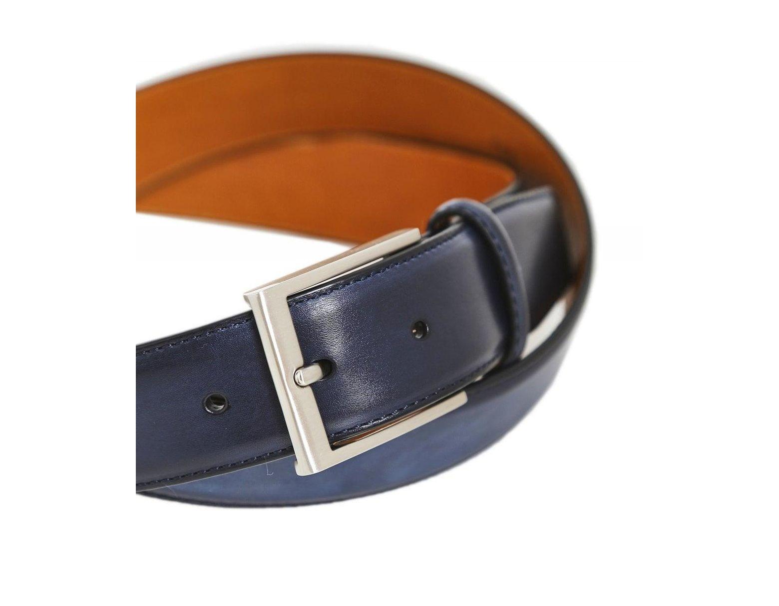 Magnanni Men/'s Burnished Leather Wind Belt