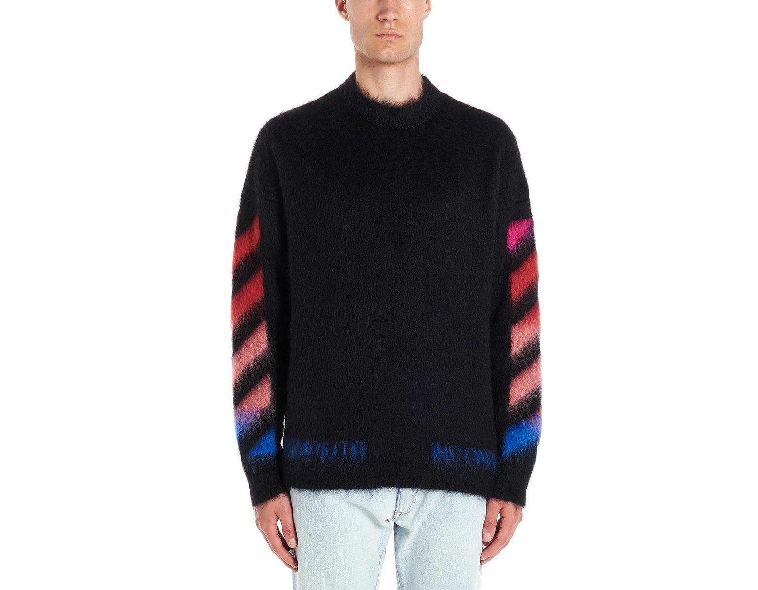5455faf85b3b9c Off-White c/o Virgil Abloh 'diagonal Brushed Mohair' Sweater in Black for  Men - Lyst