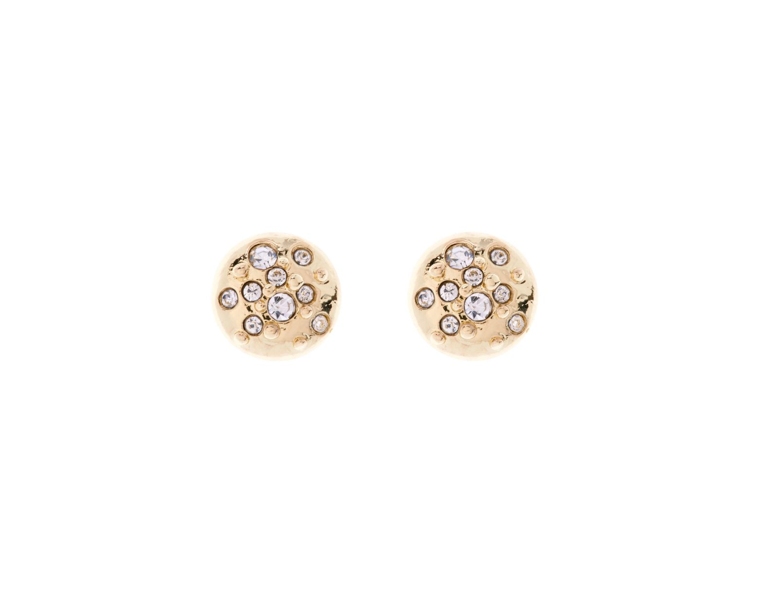 f87ba6c1b Karen Millen Crystal Sprinkle Stud Earrings - Gold Colour in Metallic - Lyst