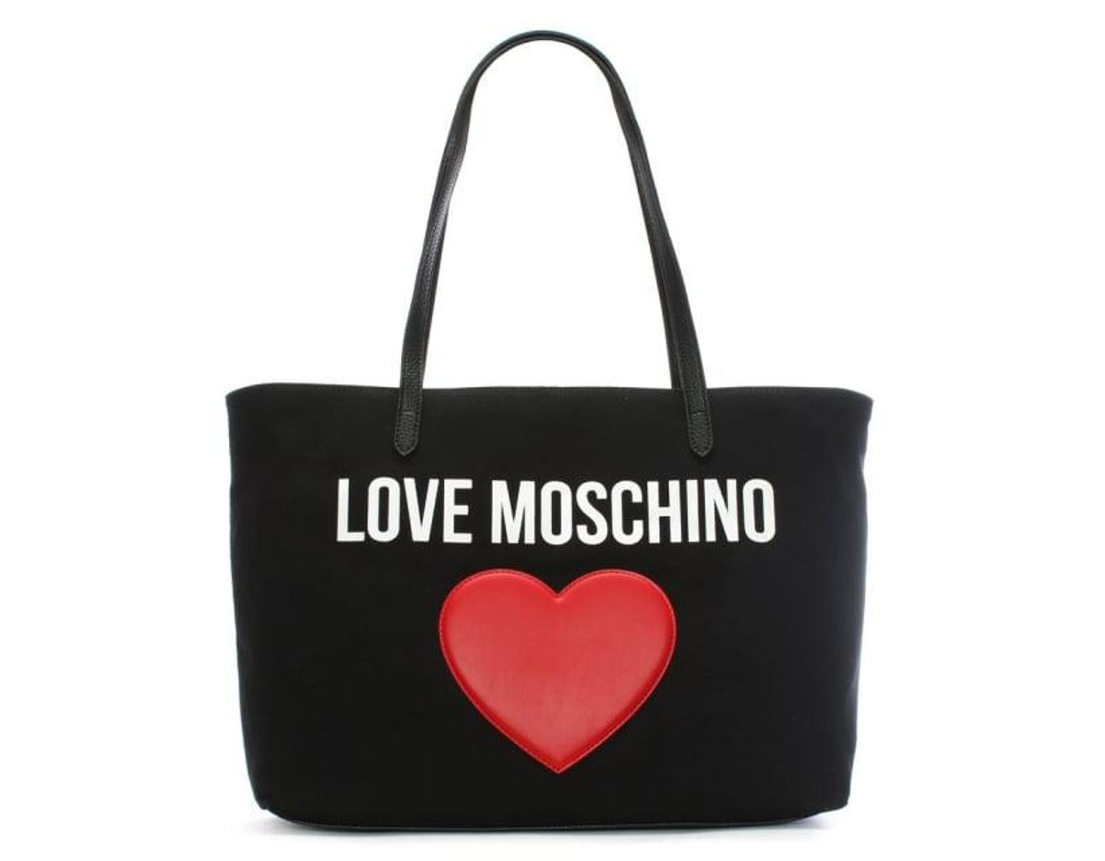 83087a8a165 Love Moschino Catherine Black Canvas Logo Heart Shopper in Black - Save 35%  - Lyst