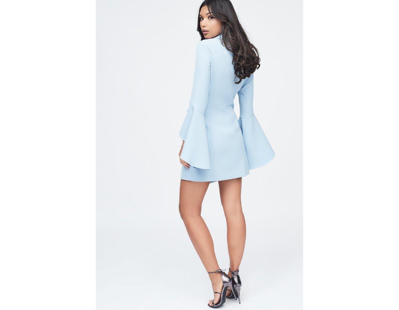 387c5f4877e4 Lavish Alice Bell Ruffle Sleeve Blazer Dress In Cornflower Blue in Blue -  Lyst