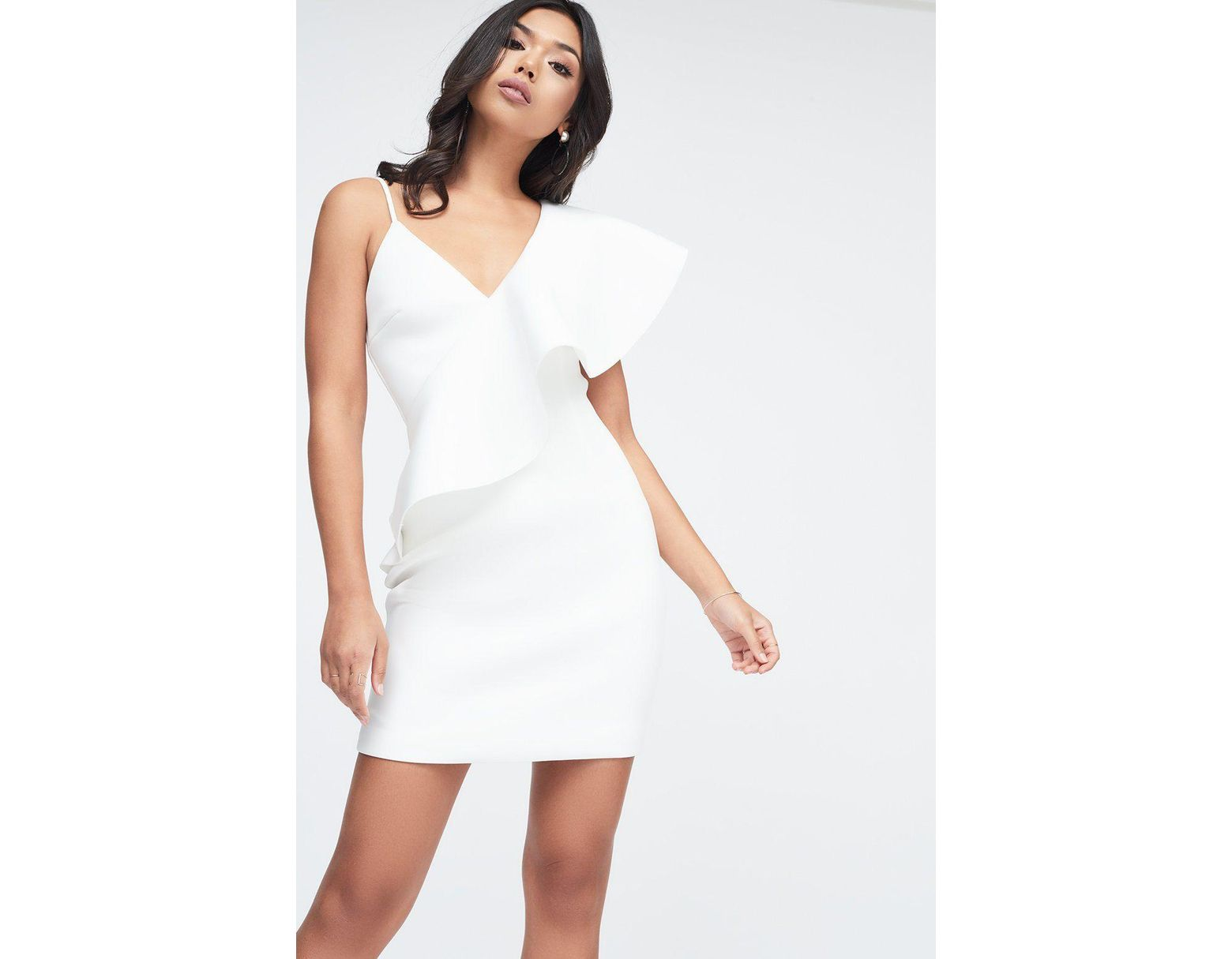 c50a1cf89f5 Lavish Alice Exaggerated One Shoulder Frill Scuba Mini Dress In White in  White - Lyst