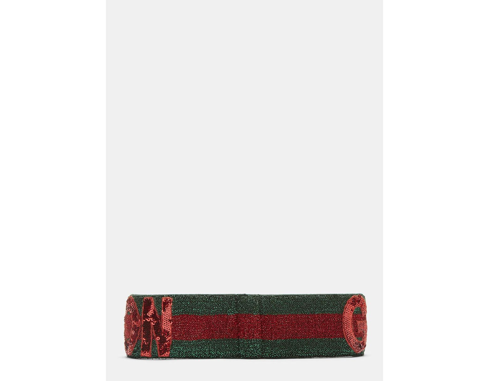 0cd6a0abe28 Gucci Fication Sequinned Headband In Red And Green in Red - Lyst