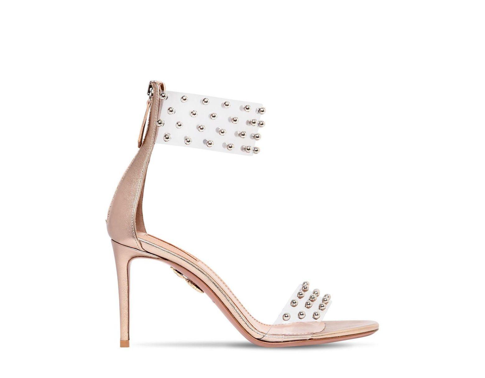 4e4bb33259 Aquazzura 85mm Illusion Studded Plexi Sandals - Lyst
