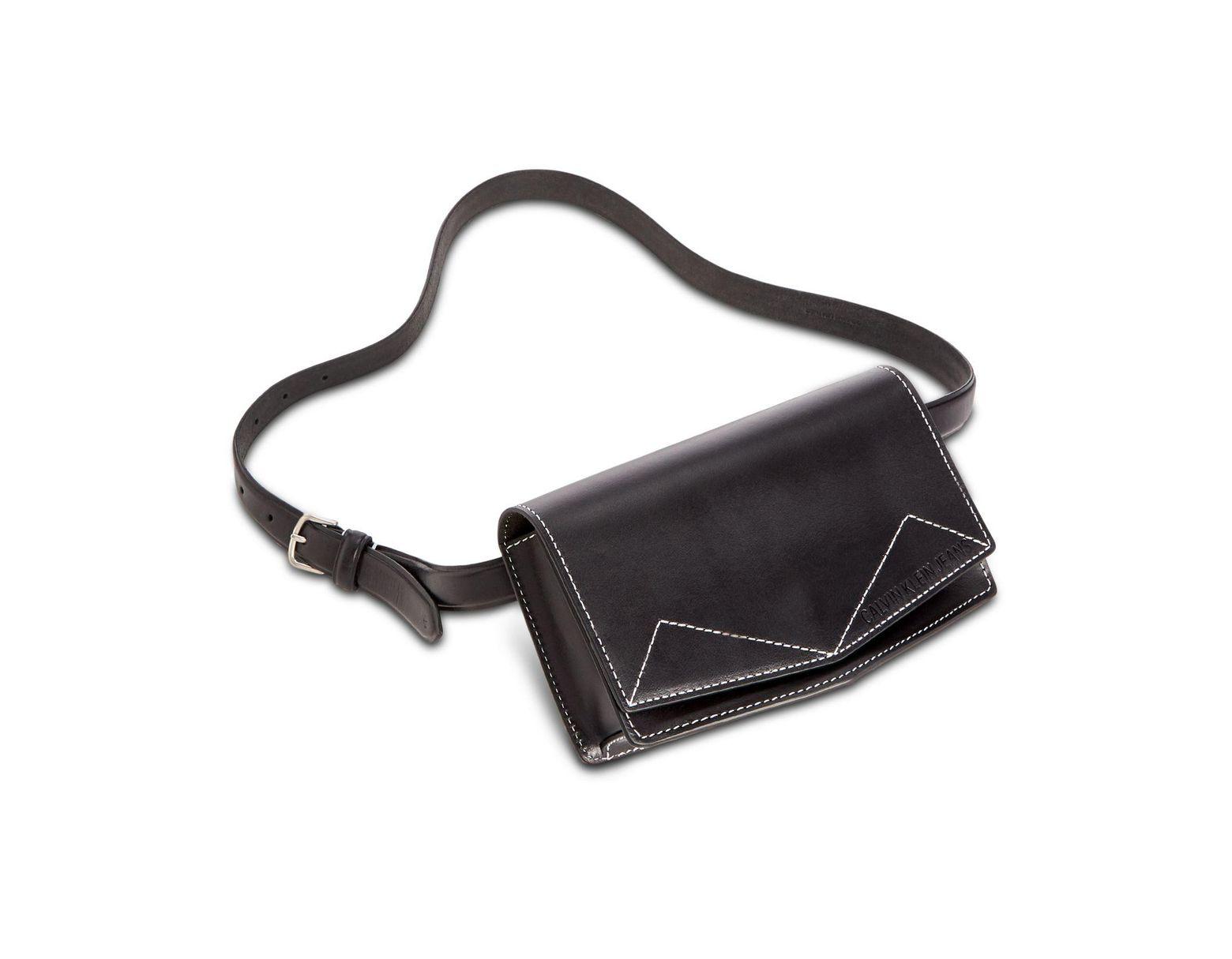 a9140e024e Calvin Klein Contrast Stitch Belt Bag in Black - Lyst