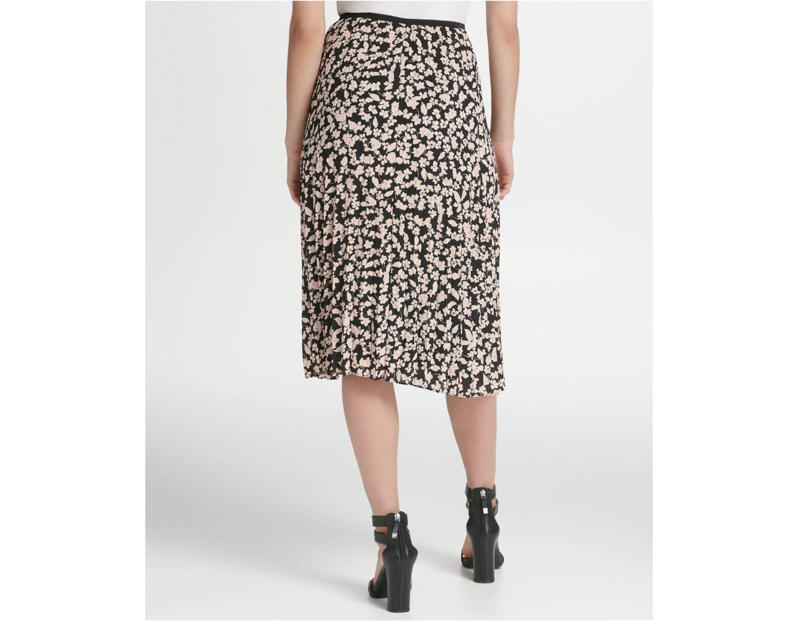 58fbc9766 DKNY Petite Floral Pleated Midi Skirt in Black - Lyst