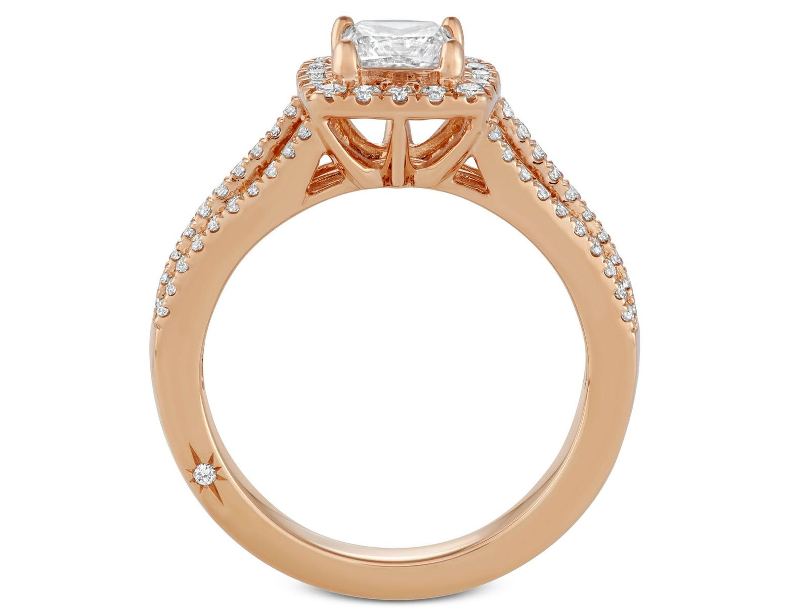 ab975285e28501 Macy's Celeste Halo By Marchesa Princess Cut Diamond Engagement Ring (1-1/5  Ct. T.w.) In 18k White, Yellow Or Rose Gold, Created For in Metallic - Lyst